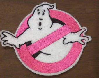 Hot pink Ghostbusters inspired logo,  No Ghost embroidered iron on patch