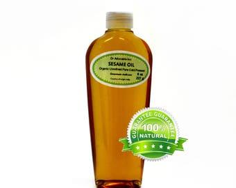 8 oz Sesame Seed Oil Unrefined Pure & Organic Cold Pressed