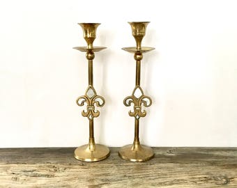Fleur De Lis Brass Candlesticks with inlaid Mother of Pearl