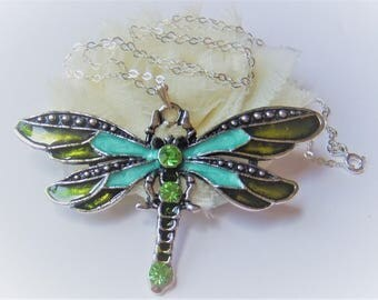 Green Dragonfly Necklace - Enamel Dragonfly Pendant - Dragonflies - Dragonfly Jewelry - Gift for Her