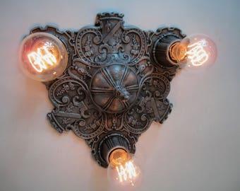 "Vintage Antique Gothic Flush Mount Ceiling Light  Art Deco Light  Ceiling Light Decor Cast Iron Three Light 12"" Diameter Stunning!"