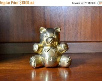SALE 25% OFF vintage brass teddy bear figurine / brass bear / nursery decor / vintage baby shower gift