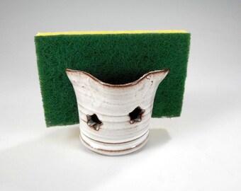 Ceramic sponge holder, pottery sponge keeper, white stoneware sponge dish, pottery sponge holder, kitchen bathroom sponge holder with stars