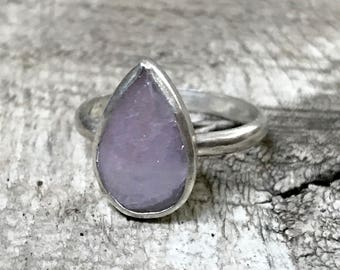 Mauve Rose Pink Faceted Teardrop or Pear Shaped Sapphire Sterling Silver Ring | Engagement Ring | Promise Ring | Sapphire Ring | Silver Ring