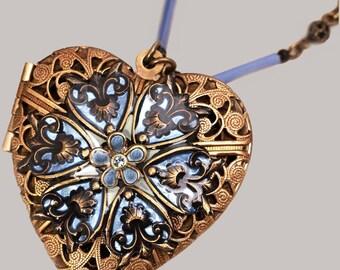 Blue Heart Necklace Heart Locket Necklace Compass Necklace Heart Necklace Working Compass Necklace