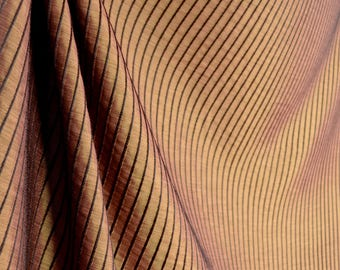 Chocolate Brown Mahogany Striped Texture Fabric Marbella