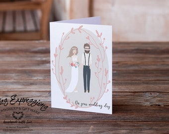 On your wedding day, Cute Couple, A6 Card, Wedding Card, Greeting Card, Stationery, Engagement Card, Linen Card, Wedding Gift, Marriage Card