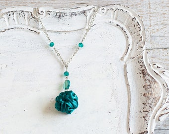 Emerald green fabric bead necklace, textile necklace, textile jewelry, Statement Necklace, Unique Gift for Her