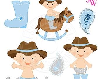 SALE Light Blue Cowboy Baby Cute Digital Clipart, Cute Baby Cowboy Clip Art, Cowboy Clipart, baby Graphics, baby Clipart, Cowboy Hat Baby, H