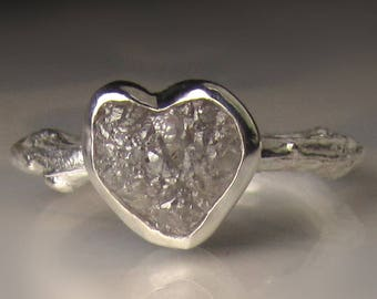 Heart Shaped Raw Diamond Twig Ring, Rough Diamond Engagement Ring, 2.70 Carats