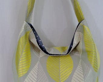 Extra Large Slouchy BAG, Shoulder Purse, Slouch Hobo, Diaper BAG, Beach BAG, Work Purse, Sling Bag, Spring Summer, Grey and Yellow, Leaves