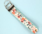 Rifle Paper Co keychain, peach rosa key fob, floral keychain, teacher gift under 10, teacher appreciation gift, womens key fob wristlet