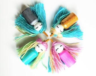 Unicorn Peg Dolls - Rainbow -Unique Gift - Waldorf Style - Party Favor - Set of 4
