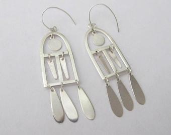 Handmade sterling silver window earrings