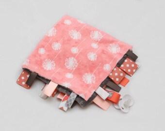 MINI Baby Ribbon Tag Blanket - Minky Binky Blankie - Coral Dandelion with Grey