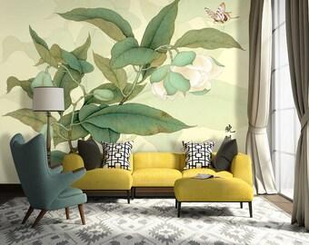 "Oriental Jasmine Flower Green Leaf Wallpaper Floral White Blooms Wall Mural 129.5"" x 93.7"""