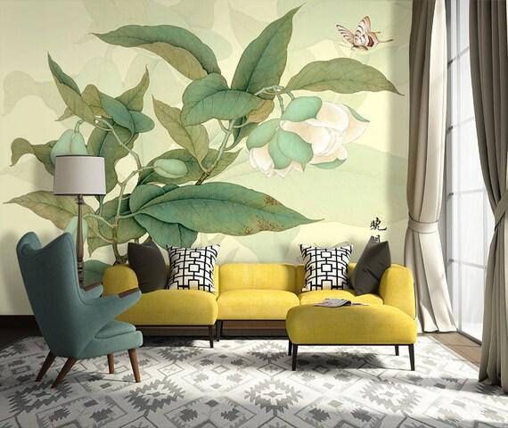 Large Leaves And Flower Wallpaper Oriental Jasmine Flower