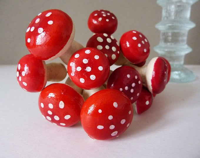 Christmas toadstool decorations Vintage