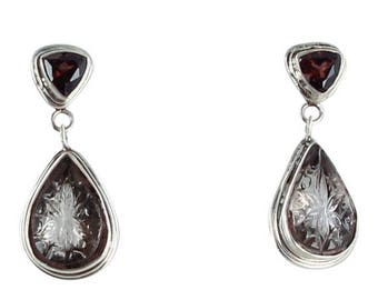 Summer Sale : ) Carved Smoky Topaz And Garnet Sterling Earrings