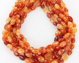 """20% Off Sale : ) FACETED CARNELIAN Eegg Beads 8x12mm 16"""" Asianbeads"""