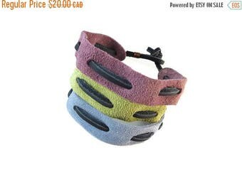 SUEDE SALE Pastel Bracelet Suede Band, Woven Bracelet Leather and Suede Jewelry, Adult Friendship Bracelets Guys and Girls, Pastel Jewelry U