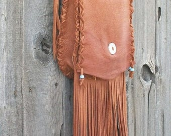 ON SALE Handmade leather purse ,   Fringed leather handbag ,   Fringed leather crossbody bag ,  Boho hippie handbag