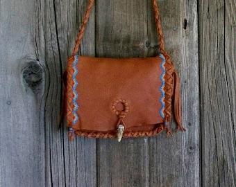 ON SALE Beaded leather handbag ,  rust leather handbag ,  leather handbag , women's fashion purses , Red Rock handbag , Southwest bags
