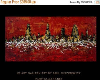 """17% OFF /ONE WEEK Only/ Unique Chicago City Scape Knife Abstract by Paul Juszkiewicz 60""""x30"""" red black"""
