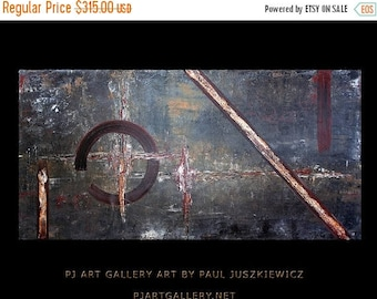 "17% OFF /ONE WEEK Only/ Modern Contemporary Abstract ""Abscido"" 48""x24"" by Paul Juszkiewicz"
