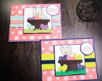 Little Piggy Valentine Handmade Greeting Card Set