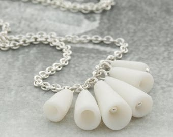 SALE White porcelain pods and sterling silver simple artisan ceramic necklace - Pasodoble , Modern jewelry