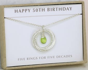 50th birthday gift, August birthstone necklace, 50th birthday necklace, August birthday gift - Lilia