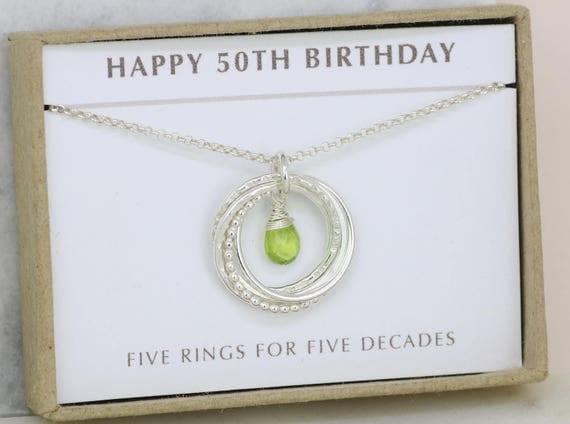 50th birthday gift august birthstone necklace 50th birthday