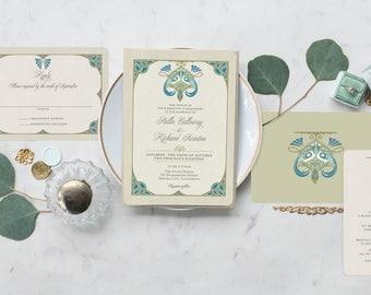 Peacock Wedding Invitation Rt Nouveau Vintage Invitations Custom Stationery
