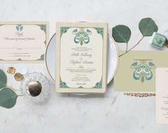peacock wedding invitation rt nouveau wedding invitation vintage wedding invitations custom wedding stationery