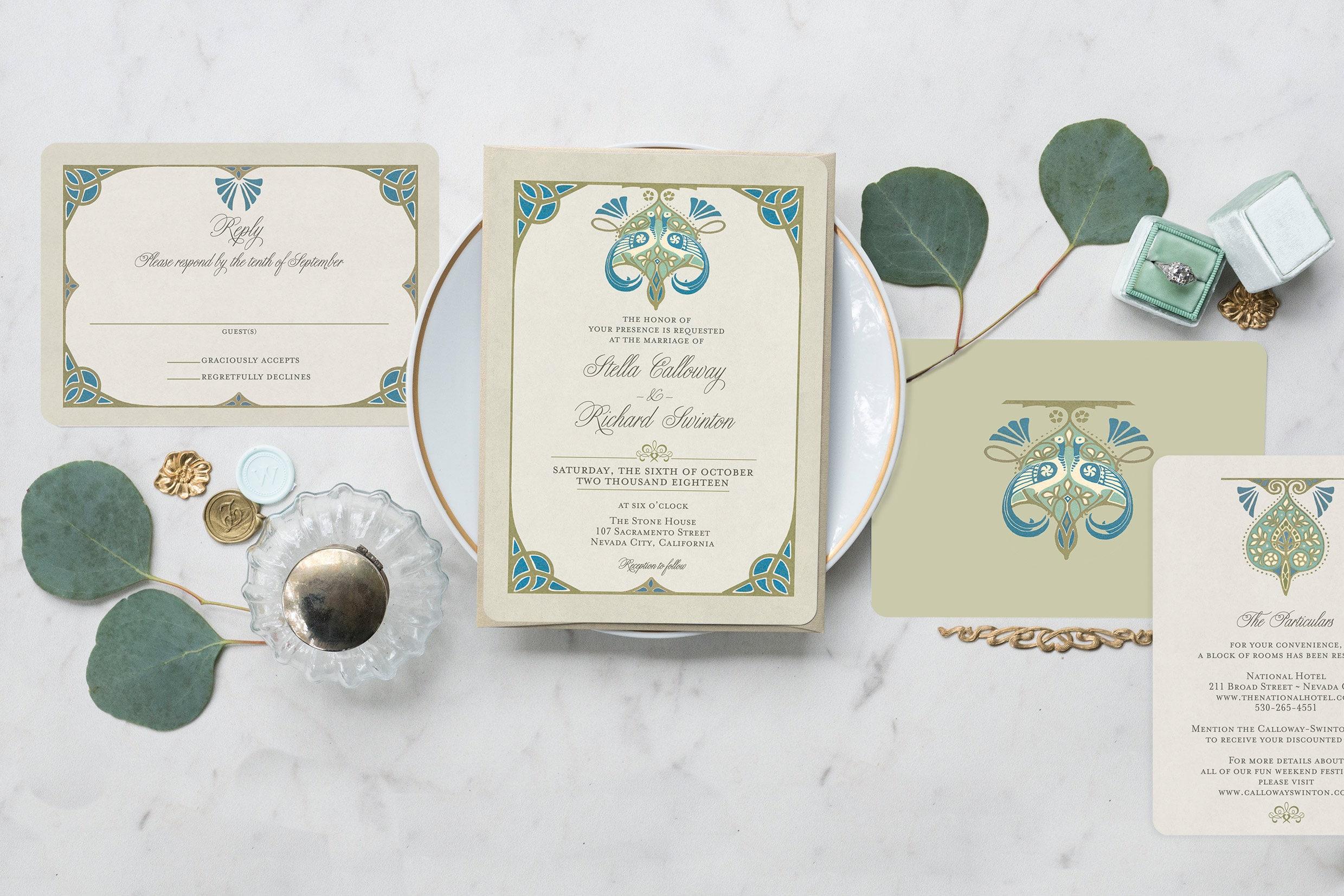 Pfau Hochzeitseinladung rt Jugendstil Hochzeits Einladung