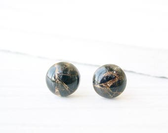 Black Stone Studs, Gold Post Earrings, Obsidian, Nickel Free Jewelry, Titanium, Copper, Natural, Simple
