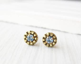 Blue Brass Post Earrings - Small Gold Studs, Titanium, Aquamarine, Crystal, Simple, Vintage Components