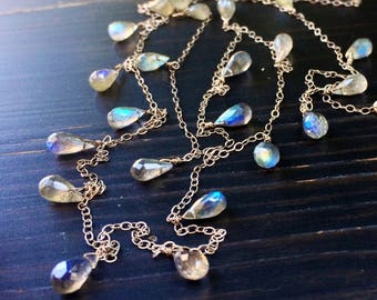 Rainbow Labradorite Silver Necklace. 12 to 36 inches long.