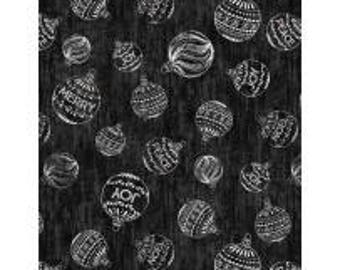 Plaid for the Holidays from Wilmington Prints - Full or Half Yard Christmas Ornaments on Black - Black and White Christmas