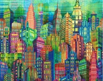 "Skylines from Hoffman Fabrics - 28"" x 44"" Digitally Printed Panel - Bright City Skyline"