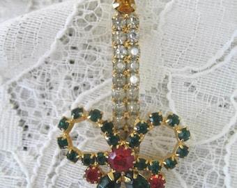 Vintage Christmas Brooch ~ Rhinestone Candlestick