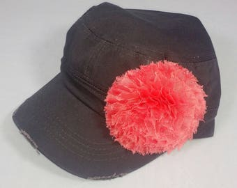 Charcoal gray army hat with large pink flower