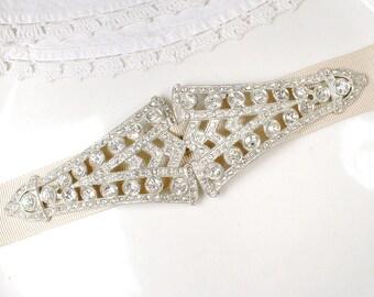 Antique LARGE Art Deco Wedding Dress Sash Buckle, 1930's Vintage Paste Rhinestone Bridal Great Gatsby Flapper Edwardian Crystal Brooch Belt