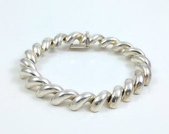 925 Italy Vintage Sterling Silver Thick Round Spiral Half Spiral Like Thick Chain Bracelet 7.5 Inches Long 3/8 Inch wide 3/16 Inch Thick