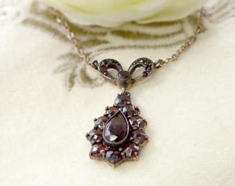Cute Vintage garnet bow&drop necklace in Victorian style || ГРАНАТ #PK