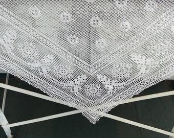 Vintage Crochet Lace Tablecloth, Netting Filet, white