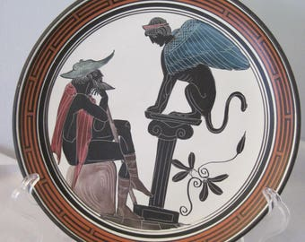 Handmade Greek Pottery Plate, Greek Mythology Plate