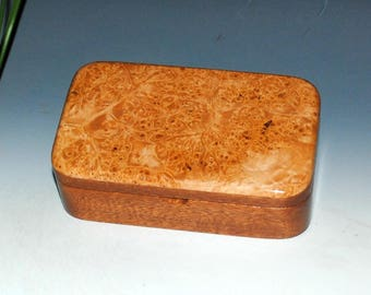 Handmade Mahogany Wood Treasure Box with Maple Burl Accents by BurlWoodBox - Keepsake Box,Gift Box, Jewelry Box, Small Wood Box, Trinket Box