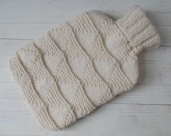 Hot water bottle Cover in cream with triangle texture pattern
